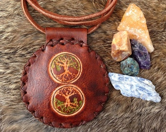 Tree of Life handmade leather amulet, As above so below leather necklace, double-sided leather talisman, handmade leather necklace