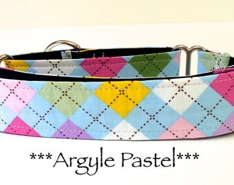 Martingale Dog Collar, Dog Collar, Adjustable Dog Collar, Buckle Dog Collar, Preppy, Dapper, Male, Hipster, Argyle in Pastel