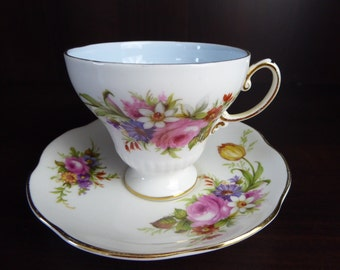 Vintage Foley Bone China Cup and Saucer Baby Blue  Interior Mixed Floral Bouquet With Gold Trim  Circa 1948-63