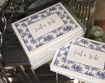 Classy and Elegant Navy Coral Note Cards - Set of 10