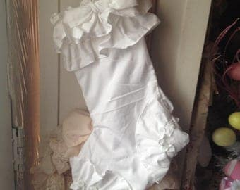 white ruffled stocking