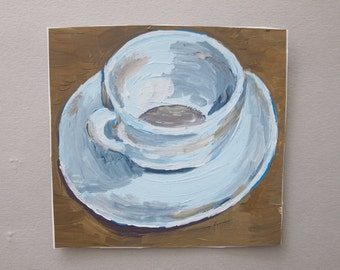 Coffee Cup Painting, Acrylic Paint on Paper, Original Artwork, Brown Grey Small Square Art, Cup and Saucer,