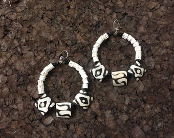 Afrocentric Jewelry -  Kenyan Bone and Togo Fish Vertebrae Earrings