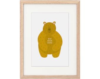 A4 Print – Big Bear Hugs. A4 Print. Digital Illustration. Wall Print. Bear Artwork. Cute. Kids Artwork. Quirky Print. Nursery Decor.