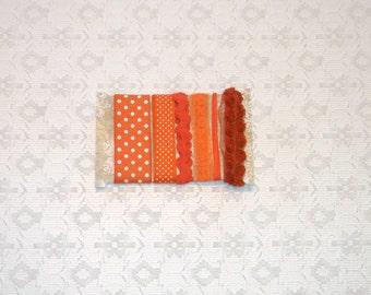Halloween Fall Orange Ribbon Rick Rack Roses Trim 6yds Set