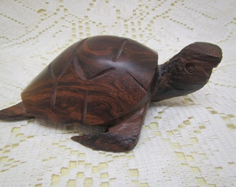 Carved Wood Turtle , Black Walnut ??? carved Turtle