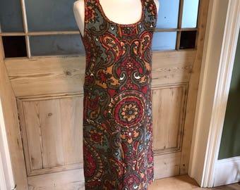 Vintage bright print 60s shift dress textured cotton