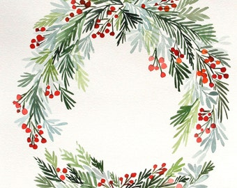 "10"" x 14"" Winter Hollies Wreath No. 2 - Original Painting"
