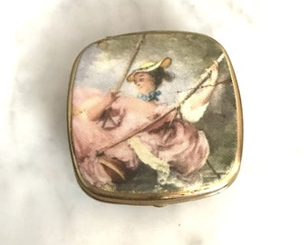 Vintage Small Pillbox with Silk Girl Made in Italy