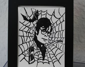 Stephen King linocut portrait