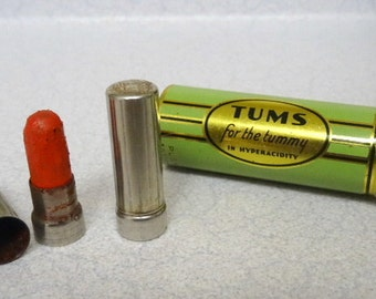 Vintage Advertising Tums and Fuller Brush Sample Lipstick USA Tins
