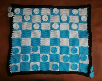 Stunning Crochet Checkers Game with Built in Storage
