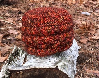 Adult Variegated Burnt Orange Cable Hat