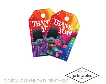 INSTANT TROLLS Thank You Tags English and Spanish Digital Download Printable pdf Birthday Party Gift Tag DIY