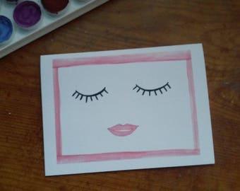"Watercolor Eyelash Card - 4""x5.5"""