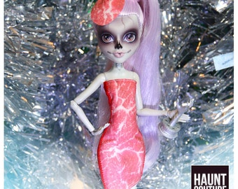"""Monster Doll Haunt Couture """"Meat Dress"""" high fashion fierce lady gaga look"""