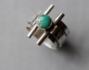 Unisex Modern Turquoise and Sterling Ring