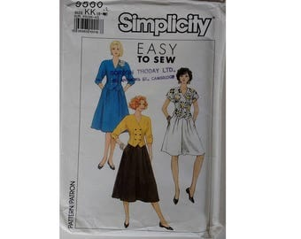 "Simplicity 9560 Vintage 80's Double Breasted Tailored Jacket Full Skirt and Culotte Pattern 3 Sizes Bust 31.5"" 32.5"" 34""  UK 8 10 12"