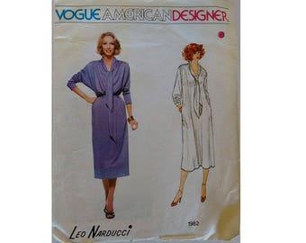Vintage 80's Vogue #1982 American Designer Leo Narducci Tie Neck Sweater Pullover Jumper Knit Jersey Dress Sewing Pattern Size Medium
