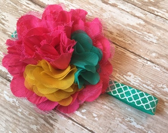 Pink, teal and mustard yellow baby headband, teal, blue green with mustard and hot pink headband, teal quatrefoil elastic, big girl headband