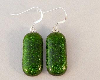 Green Dichroic Fused Glass Earrings, Dichroic, Fused Glass, Fused Glass Earrings, Glass Earrings, Dichroic Earrings, Dangle, Green Earrings