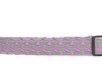 Bunny dog collar, extra wide collar, 1.5 inch dog collar, purple dog collar, large dog collar, strong dog collar, Easter dog collar