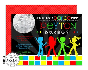Disco Invitations, Dance Party, Disco Party Invitations, Dance Invitations, Dance Party Invitation, Disco Party, Disco Dance, Dance |325