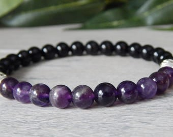 Mens Amethyst Bracelet, Mens Black Onyx Bracelet, Mens Purple Bracelet, Mens Bracelet, Gift for Him Mens Black Bracelet Mens Beaded Bracelet