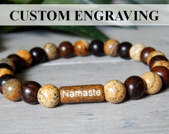 Mens Namaste Bracelet, Engraved Mens Bracelets, Mens Beaded Jewelry, Men's Yoga Bracelet, Man Bracelet, Men's Jewelry, Mens Beaded Bracelet