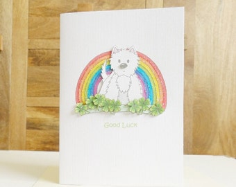 Good Luck Rainbow Westie Card