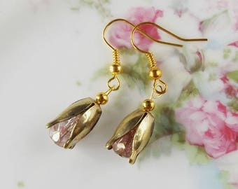 Dusty pink tulip earrings, floral dangle earrings, pale pink and gold tulips