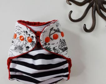 Newborn pirate cloth diaper, hidden PUL AI2 diaper, nautical baby diaper, newborn cloth