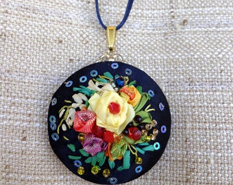 Pendant ,necklace, embroidered with silk ribbon, ribbonwork, ribbon flowers, gifts for her, unique