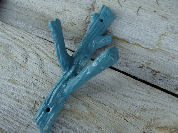 Aqua Teal Rustic Tree Branch Wall Hook Cast Iron Metal