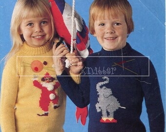 Baby Circus Motif Sweater 20-24in DK Patons 1978 Vintage Knitting Pattern PDF instant download