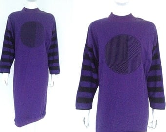 Vtg NANSO DRESS Op Art Abstract Bat Sleeves FINLAND 1970s 1980s - Mint Condition !