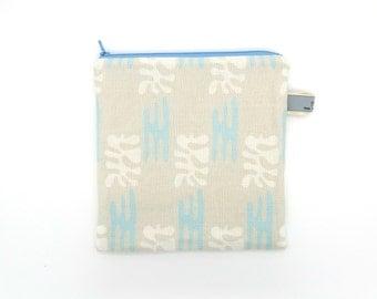 Linen Zipped Bag 'Blue Eden' Print