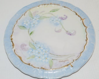 Antique Porcelain Teapot Trivet Hanging Plaque Hand Painted Blue Forget Me Nots Flowers Floral 6 1/4""