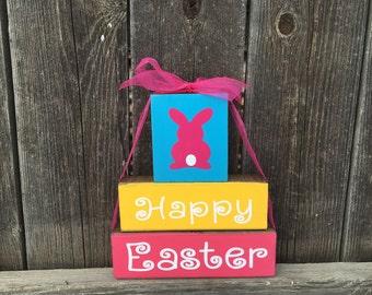 Happy Easter stacker wood blocks-bunny blocks, easter blocks