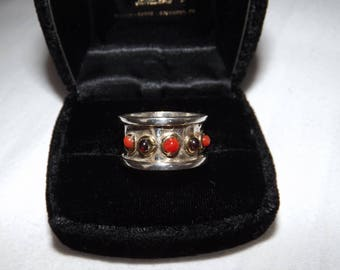Mid Century Abstract Sterling Silver Coral Amber Southwestern Ring