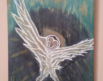 Spirit Owl on Wood, Original by Caleb Rocha , Nature Spirit Guide Totem Wisdom Native Tribes Forest Bird of Prey Wings Guardian Angel