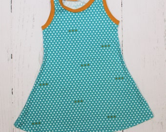 Turquoise Triangles Tank Dress, Girls Knit Dress, White and Mustard Triangles on Turquoise with Mustard Trim