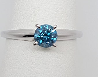 Blue Diamond .58ct VS1 14kt White Gold Solitaire Ring Size 6.5