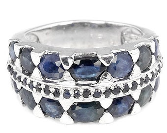 5ctw Blue Sapphire Oval & Round Sterling Silver Ring Size 8.25