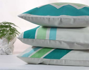 """18""""x18"""" PILLOW COVER  Decorative Pillow - hand painted cushion - Blue hues stripes"""