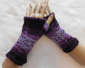 Hand Knitted Fingerless, Texting Gloves in Shaded Purples, Size Large