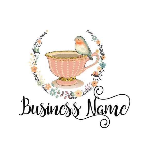 digital graphic logo design tea cup bird with flower wreath