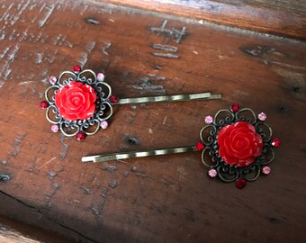 Red Rose Bobby Pin Pair