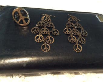 Brass Lucky Brand PEACE SIGN 2Pc. SET Ring Sz 7 Dangly Earrings Mint  Condition Free Shipping