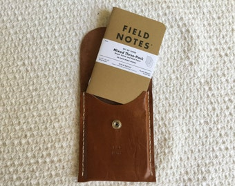 Field Notes leather pouch Field Notes leather case with Field Notes Mixed 3-pack